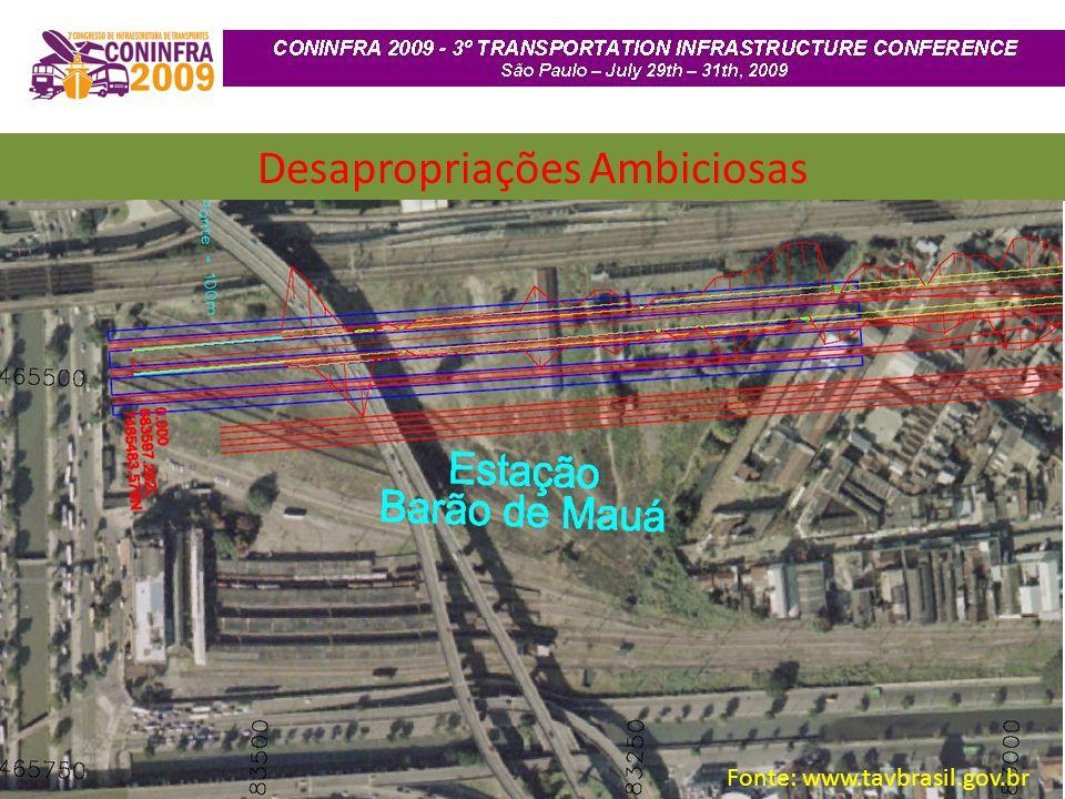 Desapropriações Ambiciosas Fonte: www.tavbrasil.gov.br