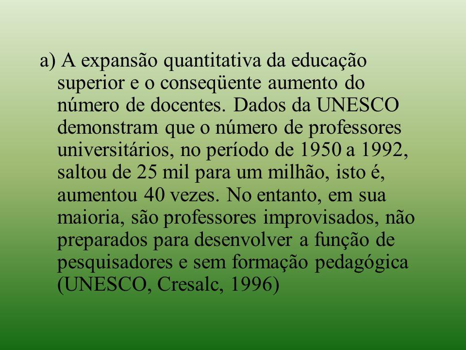 a) A expansão quantitativa da educação superior e o conseqüente aumento do número de docentes. Dados da UNESCO demonstram que o número de professores