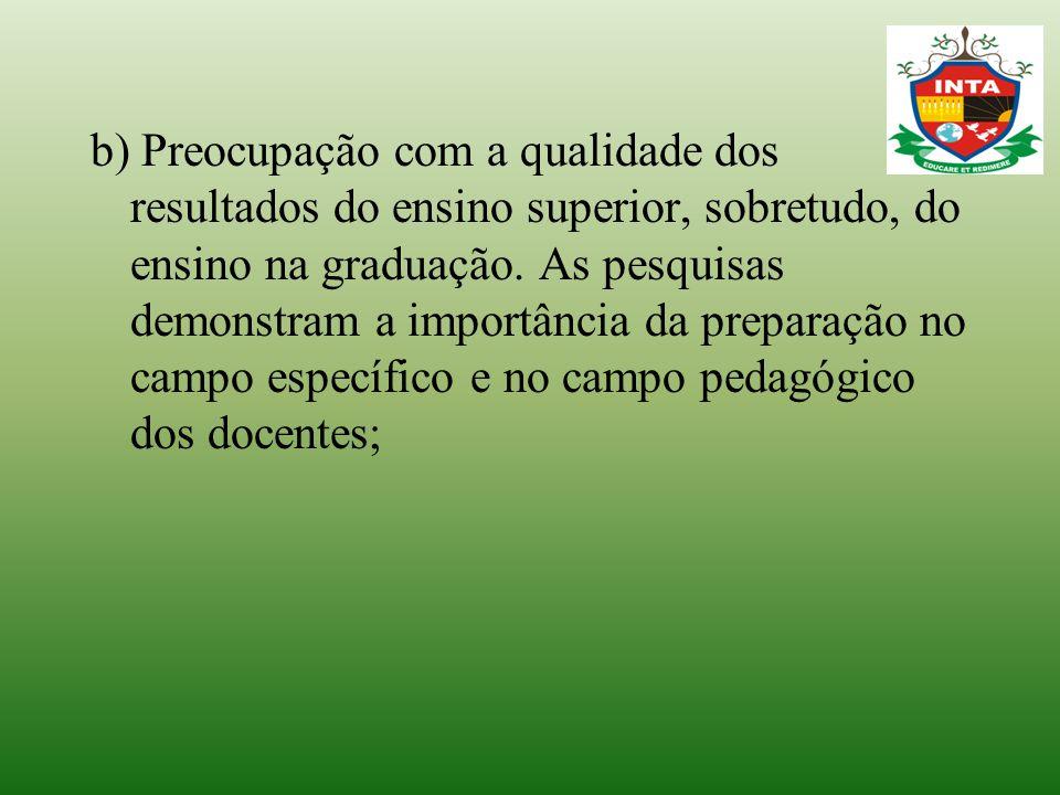 b) Preocupação com a qualidade dos resultados do ensino superior, sobretudo, do ensino na graduação. As pesquisas demonstram a importância da preparaç