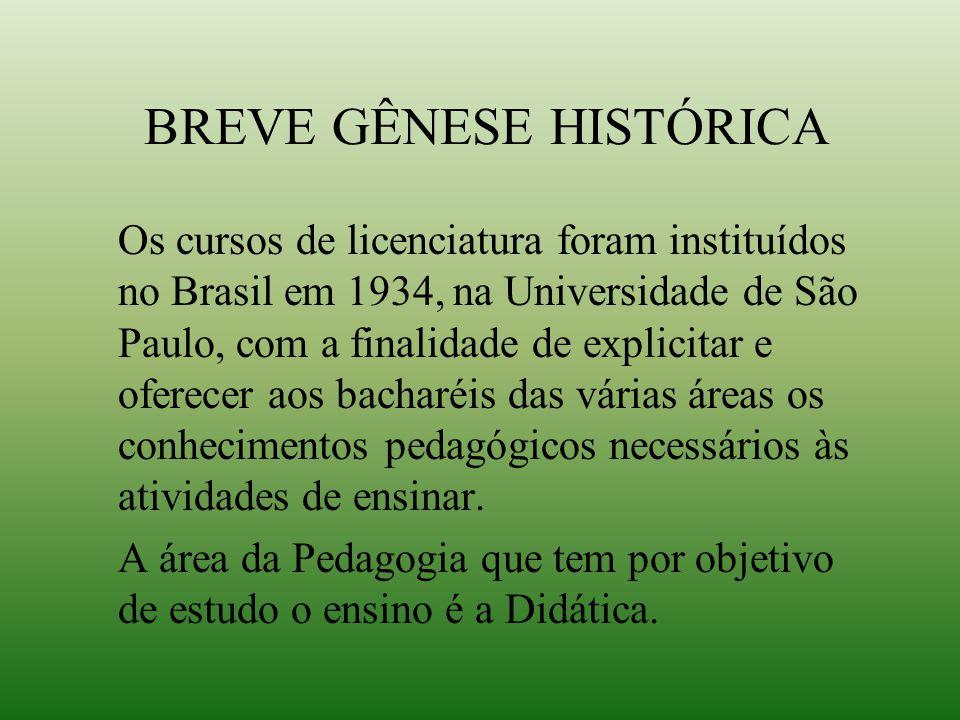 BREVE GÊNESE HISTÓRICA Os cursos de licenciatura foram instituídos no Brasil em 1934, na Universidade de São Paulo, com a finalidade de explicitar e o