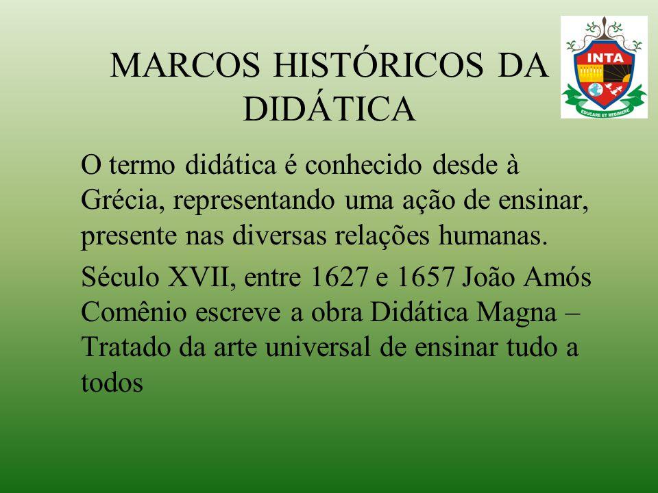 MARCOS HISTÓRICOS DA DIDÁTICA O termo didática é conhecido desde à Grécia, representando uma ação de ensinar, presente nas diversas relações humanas.