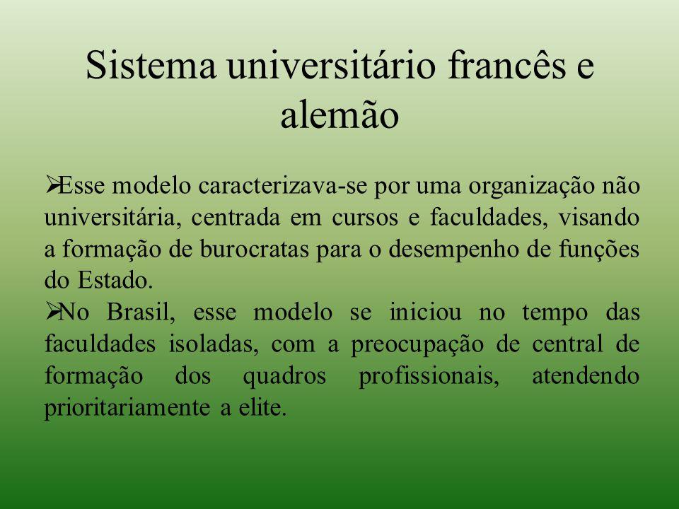 Sistema universitário francês e alemão  Esse modelo caracterizava-se por uma organização não universitária, centrada em cursos e faculdades, visando