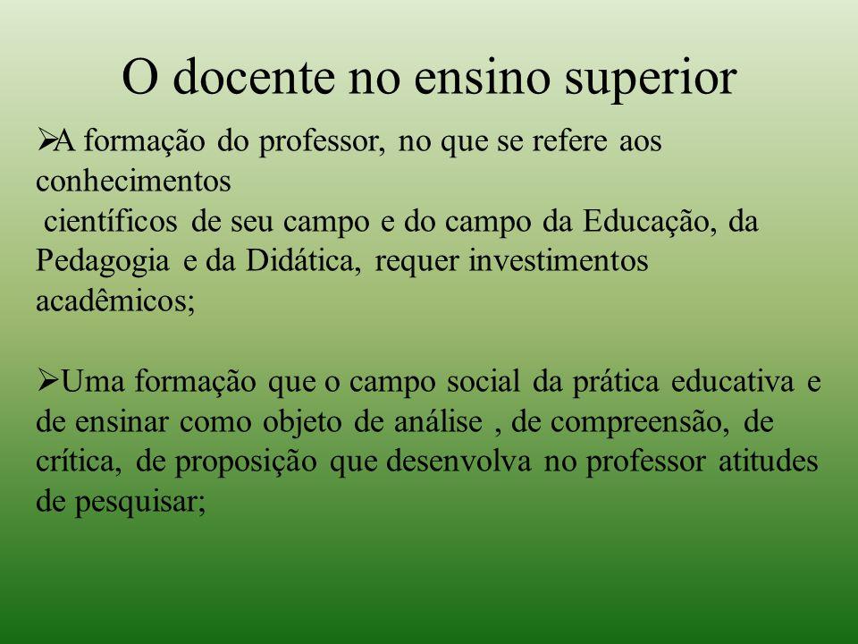 O docente no ensino superior  A formação do professor, no que se refere aos conhecimentos científicos de seu campo e do campo da Educação, da Pedagog