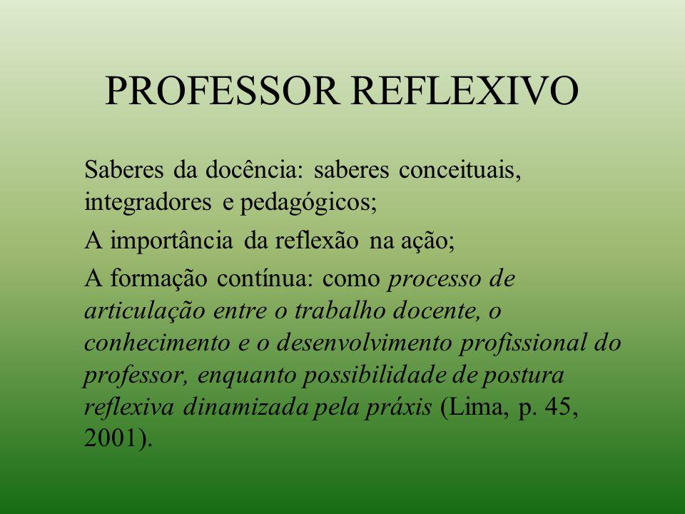 PROFESSOR REFLEXIVO Saberes da docência: saberes conceituais, integradores e pedagógicos; A importância da reflexão na ação; A formação contínua: como