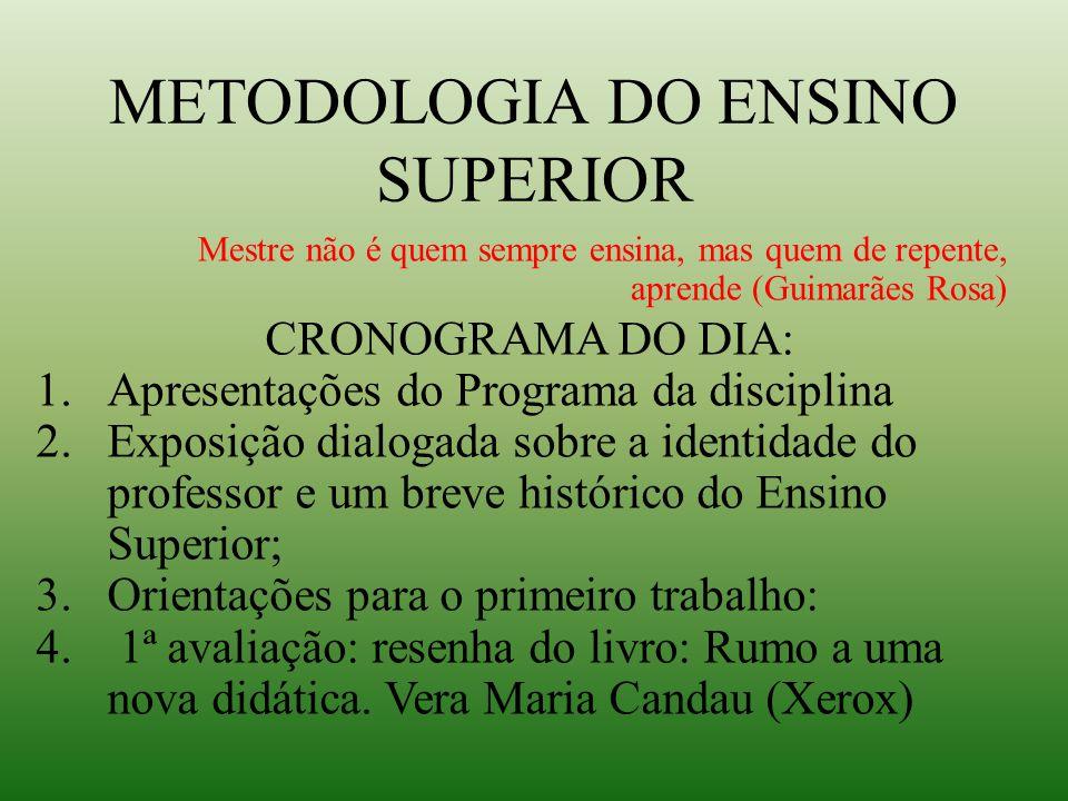 METODOLOGIA DO ENSINO SUPERIOR Mestre não é quem sempre ensina, mas quem de repente, aprende (Guimarães Rosa) CRONOGRAMA DO DIA: 1.Apresentações do Pr