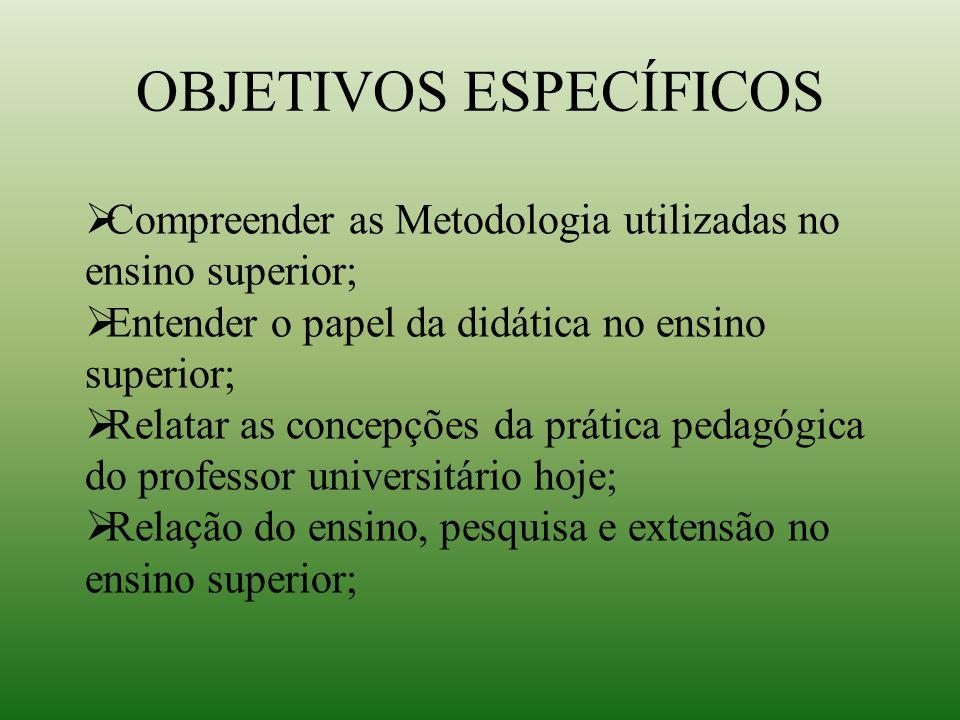 Metodologias utilizadas  Exposição dialogada  Discussões de temas relevantes relacionados ao contexto da disciplina;  Seminários  Aula didática  Apresentação do portfólio