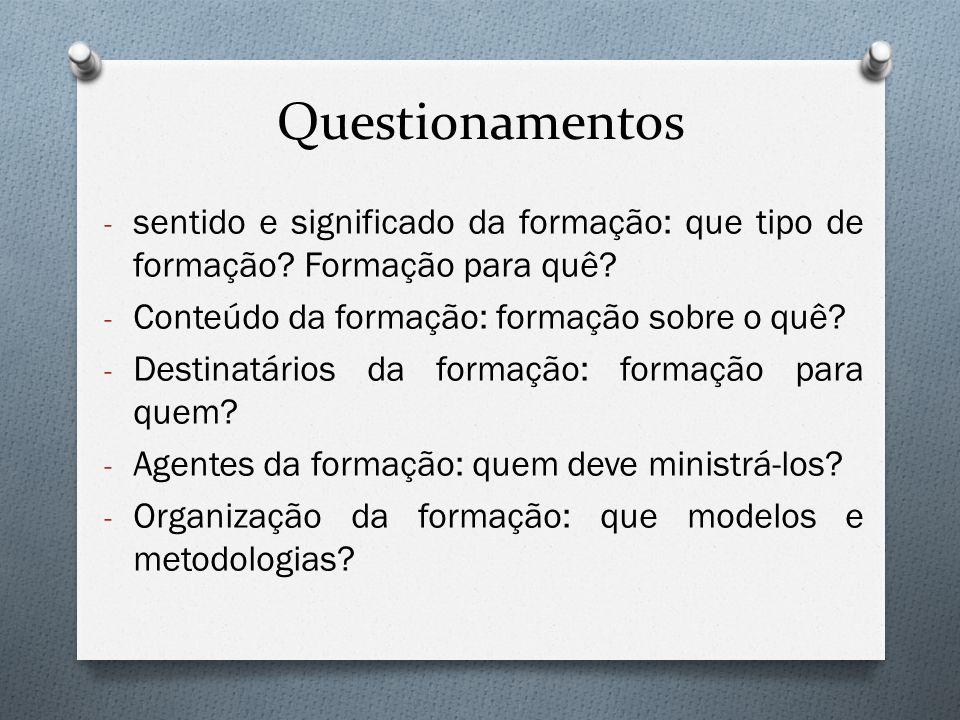 Questionamentos - sentido e significado da formação: que tipo de formação? Formação para quê? - Conteúdo da formação: formação sobre o quê? - Destinat