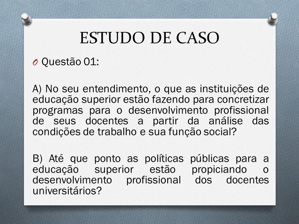 ESTUDO DE CASO O Questão 01: A) No seu entendimento, o que as instituições de educação superior estão fazendo para concretizar programas para o desenv