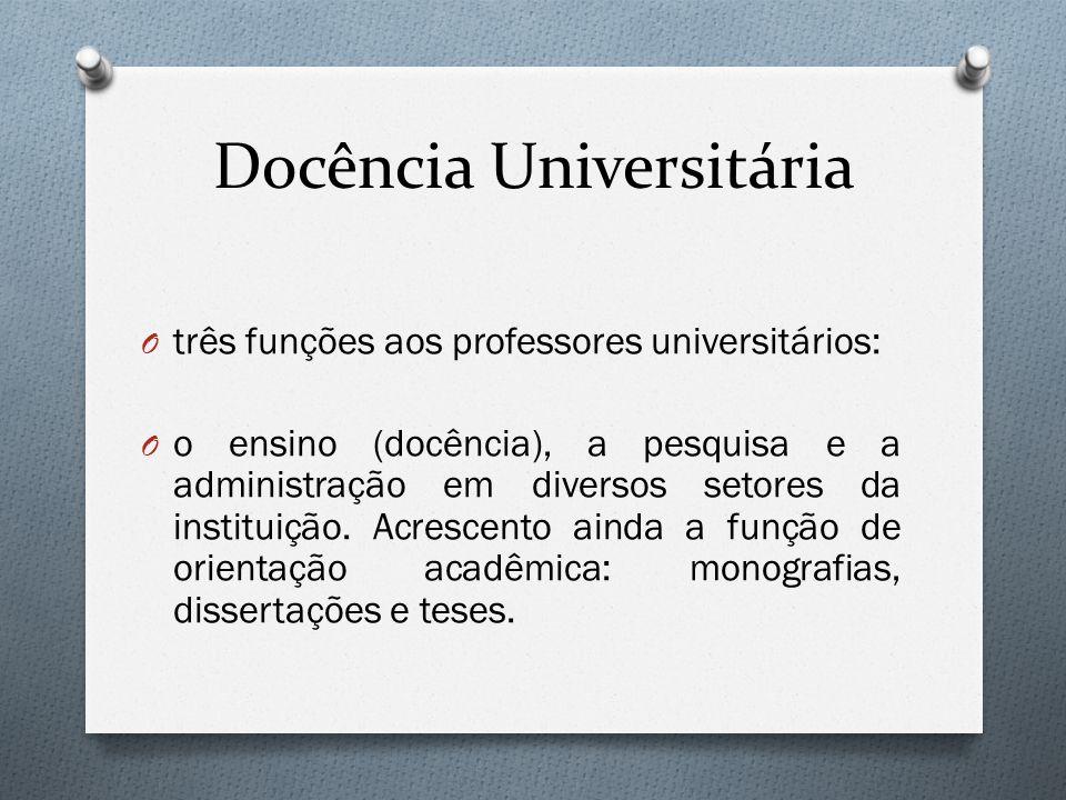 Docência Universitária O três funções aos professores universitários: O o ensino (docência), a pesquisa e a administração em diversos setores da insti