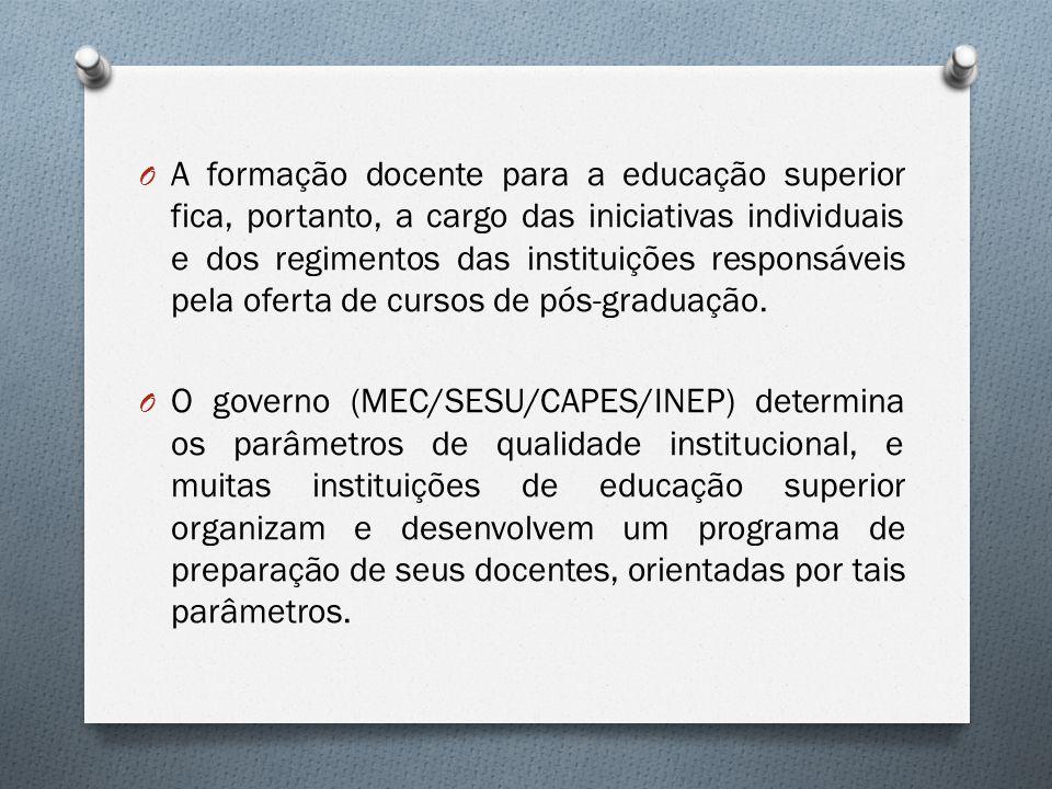 O A formação docente para a educação superior fica, portanto, a cargo das iniciativas individuais e dos regimentos das instituições responsáveis pela