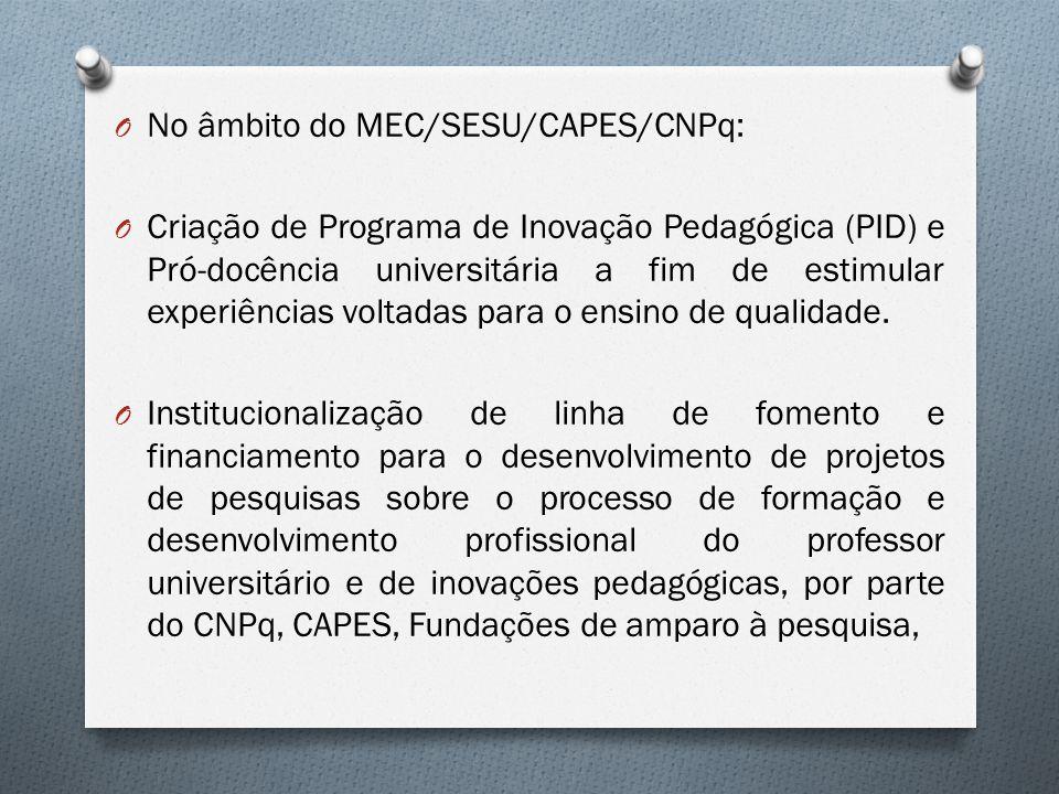 O No âmbito do MEC/SESU/CAPES/CNPq: O Criação de Programa de Inovação Pedagógica (PID) e Pró-docência universitária a fim de estimular experiências vo