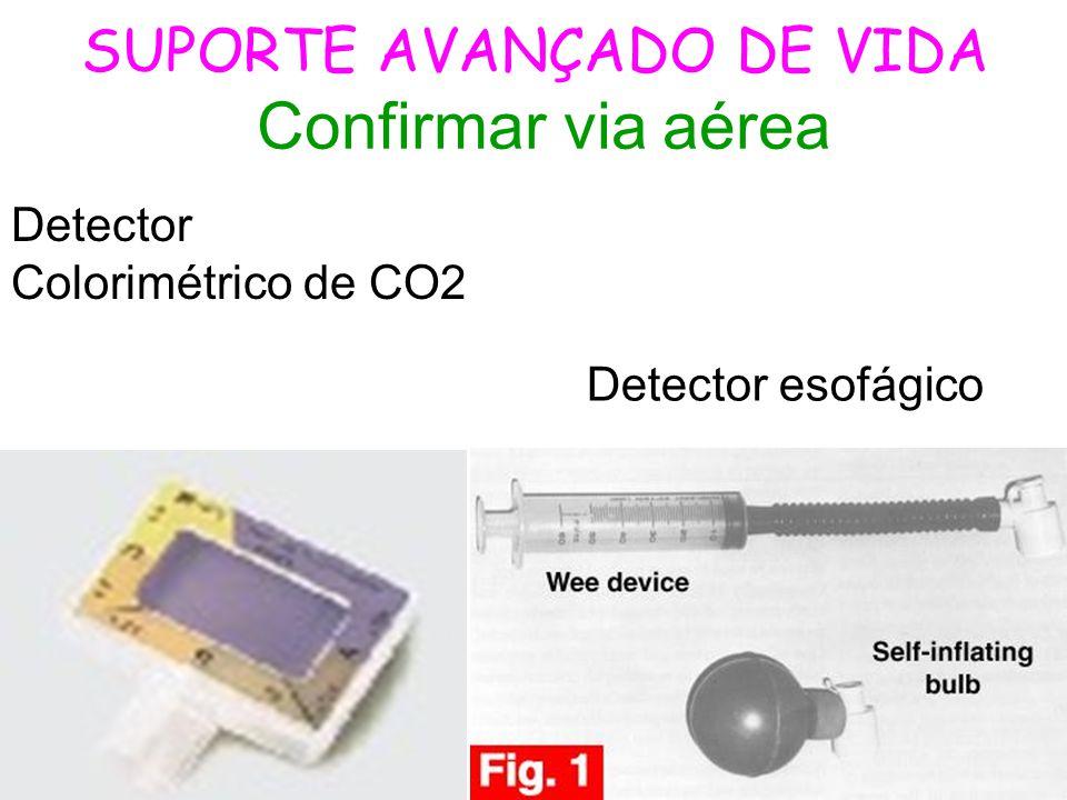 SUPORTE AVANÇADO DE VIDA Confirmar via aérea Detector esofágico Detector Colorimétrico de CO2