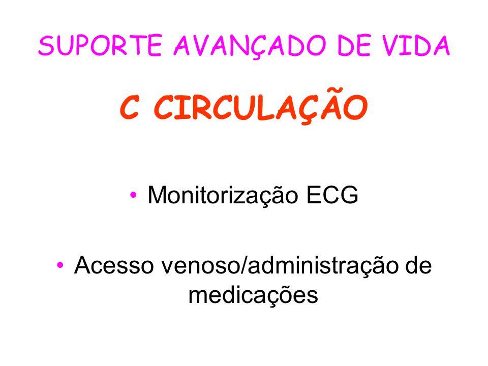 SUPORTE AVANÇADO DE VIDA C CIRCULAÇÃO Monitorização ECG Acesso venoso/administração de medicações