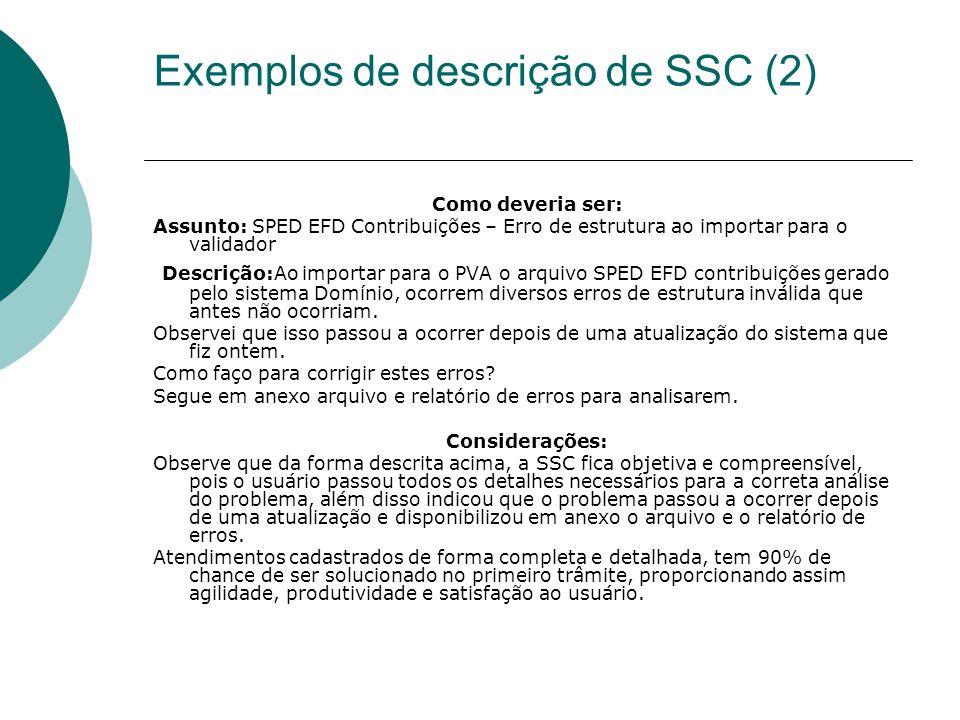 Exemplos de descrição de SSC (2) Como deveria ser: Assunto: SPED EFD Contribuições – Erro de estrutura ao importar para o validador Descrição:Ao impor