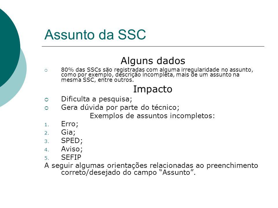 Assunto da SSC Alguns dados  80% das SSCs são registradas com alguma irregularidade no assunto, como por exemplo, descrição incompleta, mais de um as