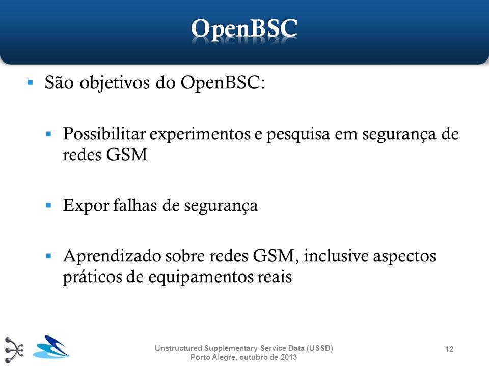  São objetivos do OpenBSC:  Possibilitar experimentos e pesquisa em segurança de redes GSM  Expor falhas de segurança  Aprendizado sobre redes GSM