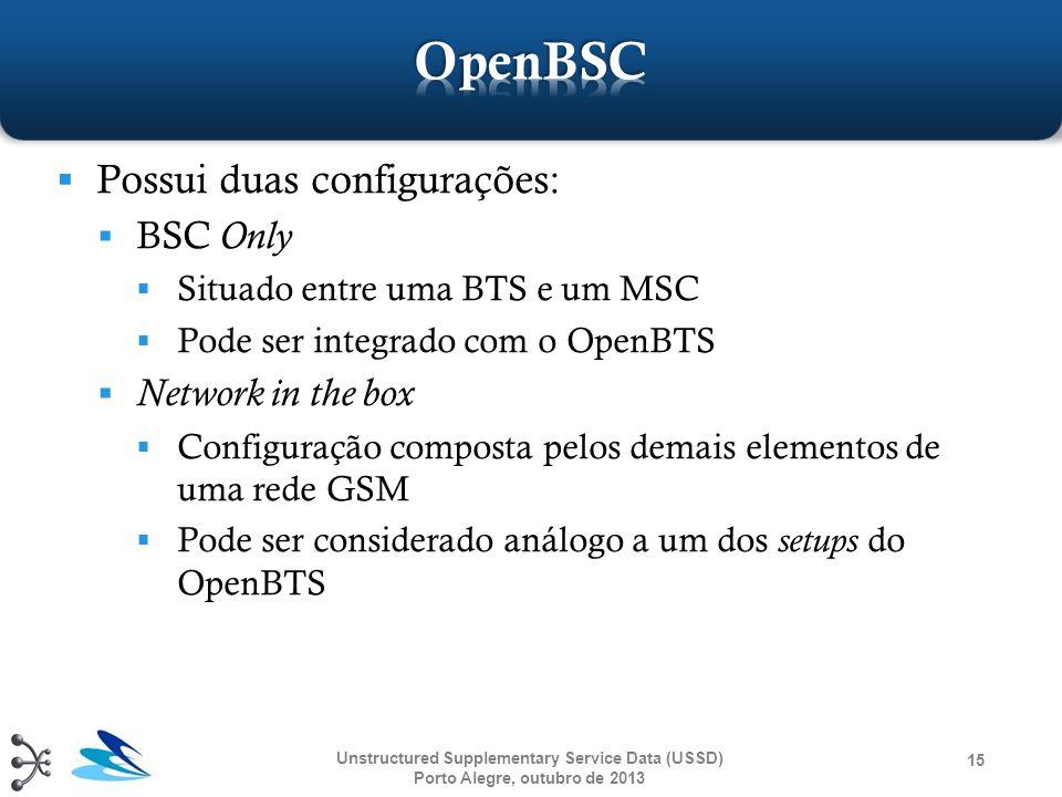  Possui duas configurações:  BSC Only  Situado entre uma BTS e um MSC  Pode ser integrado com o OpenBTS  Network in the box  Configuração compos
