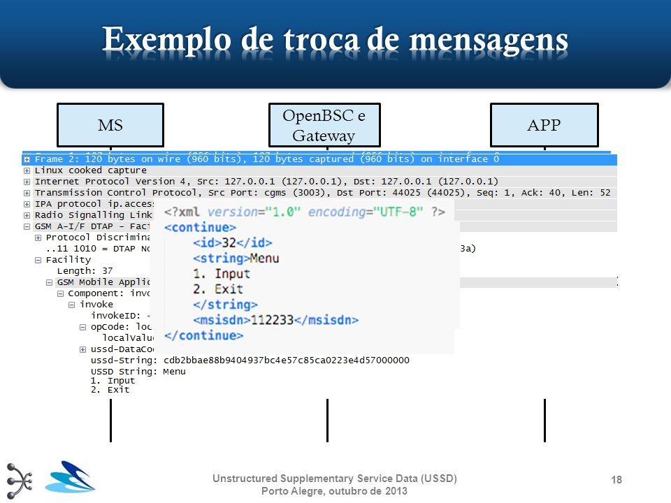 "18 MS OpenBSC e Gateway APP DTAP (""*#10#"": request) TCP/IP (XML: begin) Menu 1.Input 2.Exit TCP/IP (XML: continue) DTAP (""Menu..."": request) Unstructu"