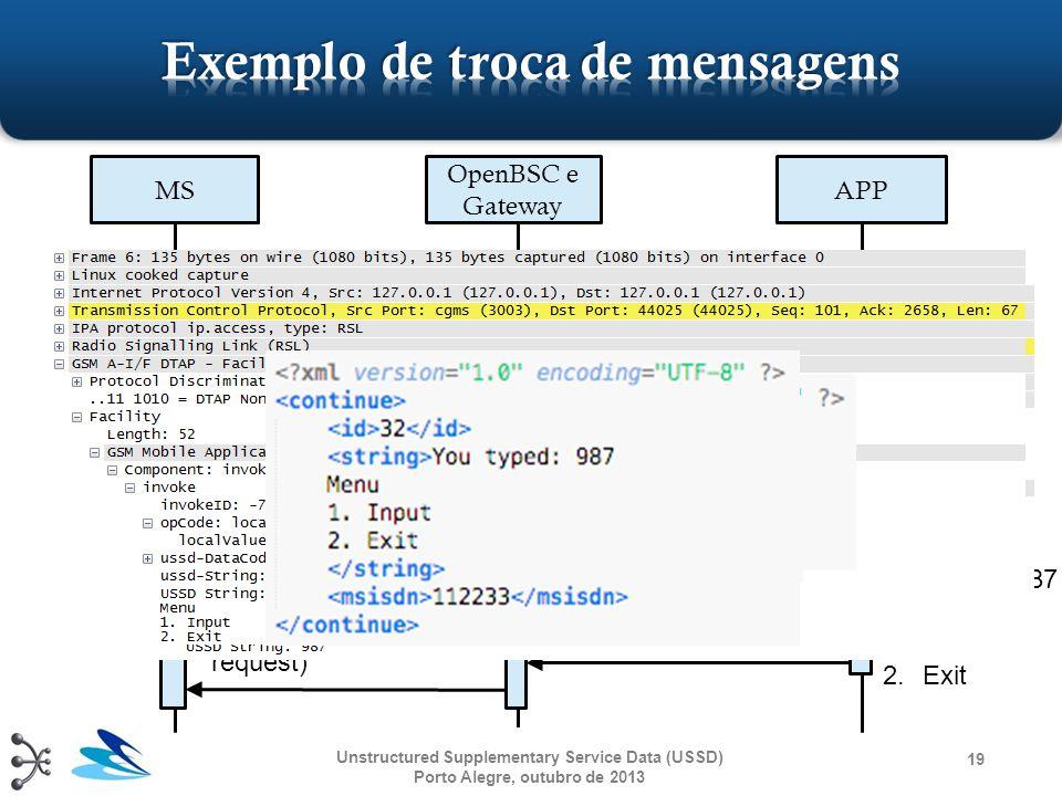 """19 MS OpenBSC e Gateway APP DTAP ('1': request) TCP/IP (XML: continue) """"Enter your input:"""" TCP/IP (XML: continue) DTAP (""""Enter your input: """": request)"""