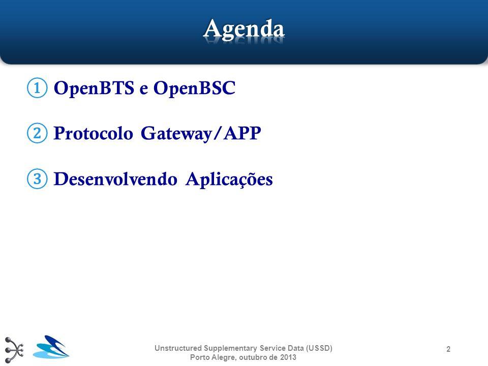  NÃO são objetivos do OpenBSC:  Construir BSC/MSC estáveis e confiáveis para utilização em uma rede com alta disponibilidade  Construir aplicações que seguem à risca as regulamentações GSM  Interferir no comércio de redes GSM reais Unstructured Supplementary Service Data (USSD) Porto Alegre, outubro de 2013 13