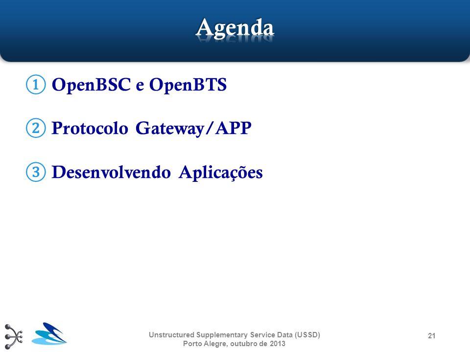 ① OpenBSC e OpenBTS ② Protocolo Gateway/APP ③ Desenvolvendo Aplicações Unstructured Supplementary Service Data (USSD) Porto Alegre, outubro de 2013 21