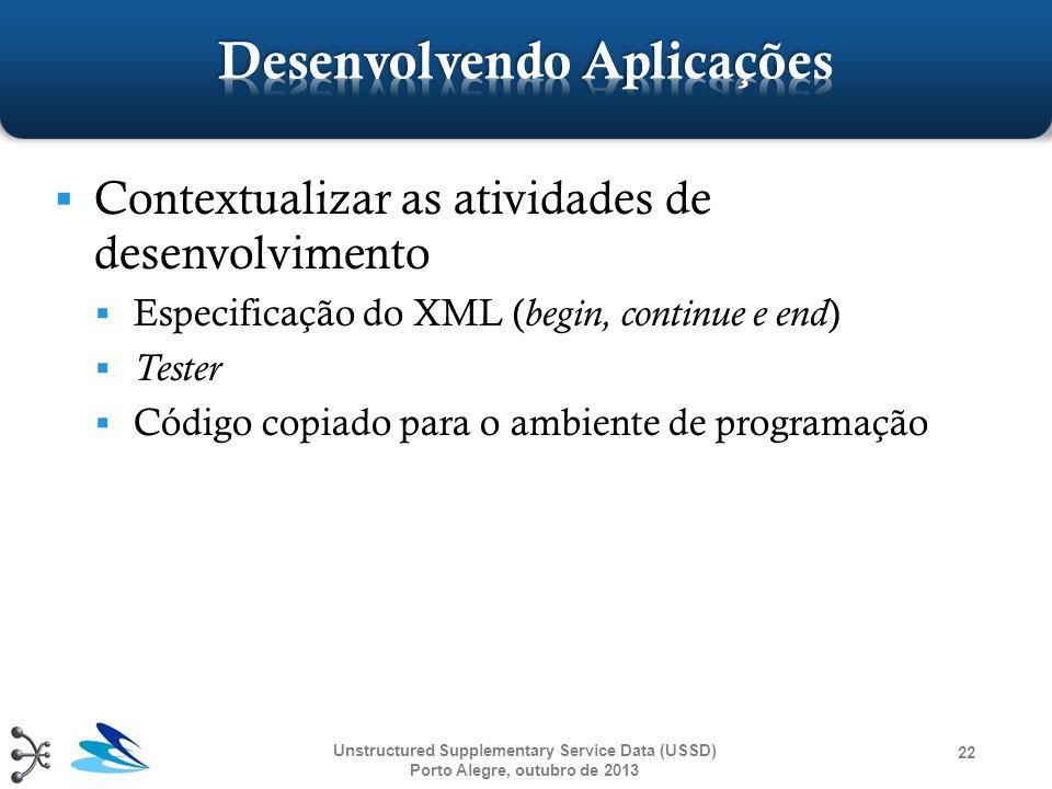  Contextualizar as atividades de desenvolvimento  Especificação do XML ( begin, continue e end )  Tester  Código copiado para o ambiente de progra