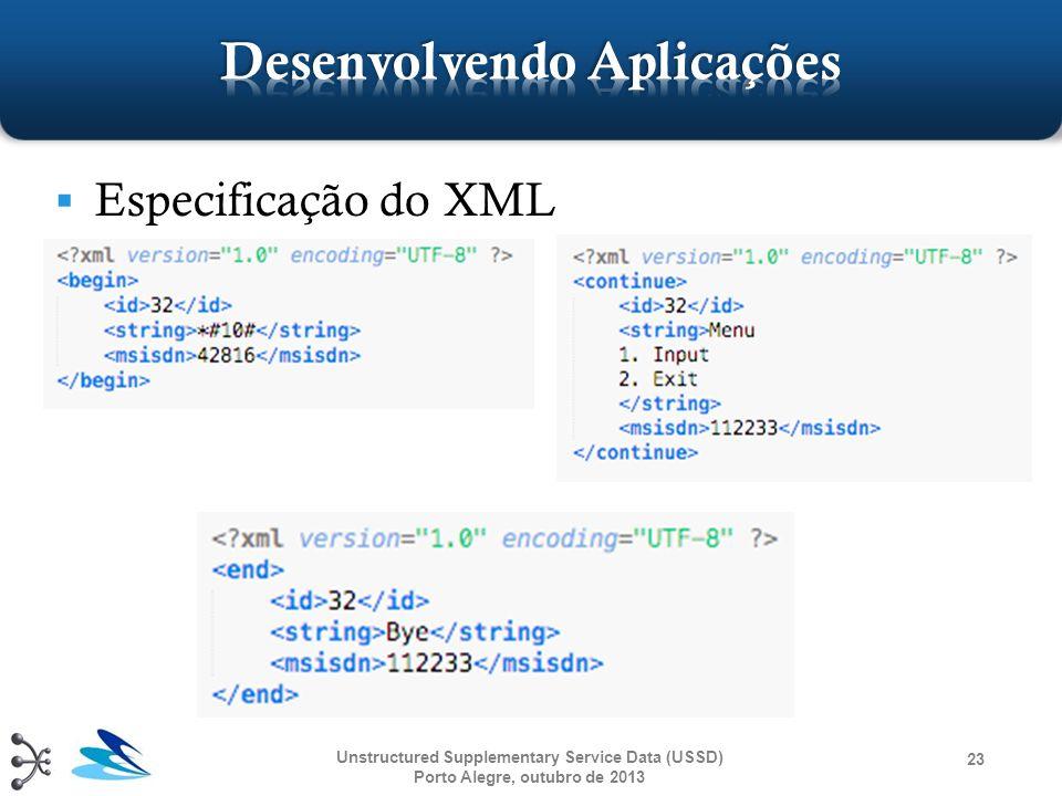  Especificação do XML Unstructured Supplementary Service Data (USSD) Porto Alegre, outubro de 2013 23