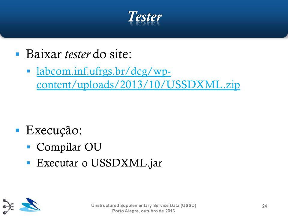  Baixar tester do site:  labcom.inf.ufrgs.br/dcg/wp- content/uploads/2013/10/USSDXML.zip labcom.inf.ufrgs.br/dcg/wp- content/uploads/2013/10/USSDXML