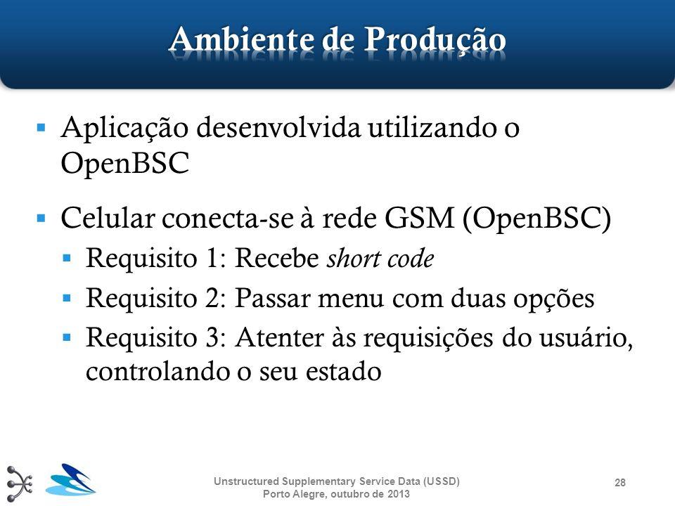  Aplicação desenvolvida utilizando o OpenBSC  Celular conecta-se à rede GSM (OpenBSC)  Requisito 1: Recebe short code  Requisito 2: Passar menu co
