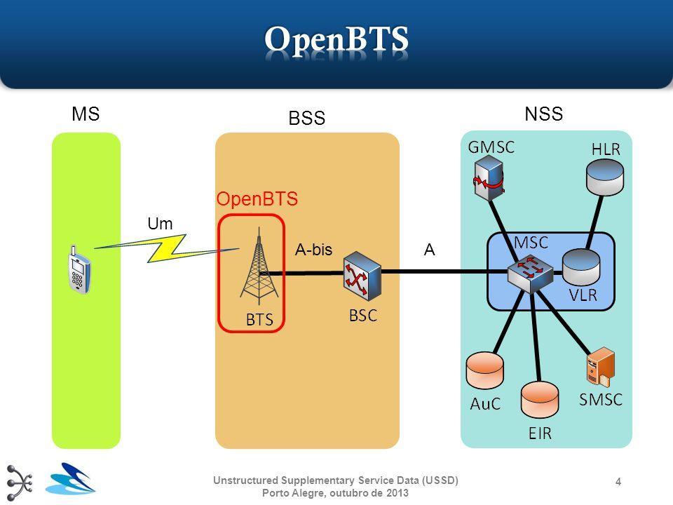  Possui duas configurações:  BSC Only  Situado entre uma BTS e um MSC  Pode ser integrado com o OpenBTS  Network in the box  Configuração composta pelos demais elementos de uma rede GSM  Pode ser considerado análogo a um dos setups do OpenBTS Unstructured Supplementary Service Data (USSD) Porto Alegre, outubro de 2013 15