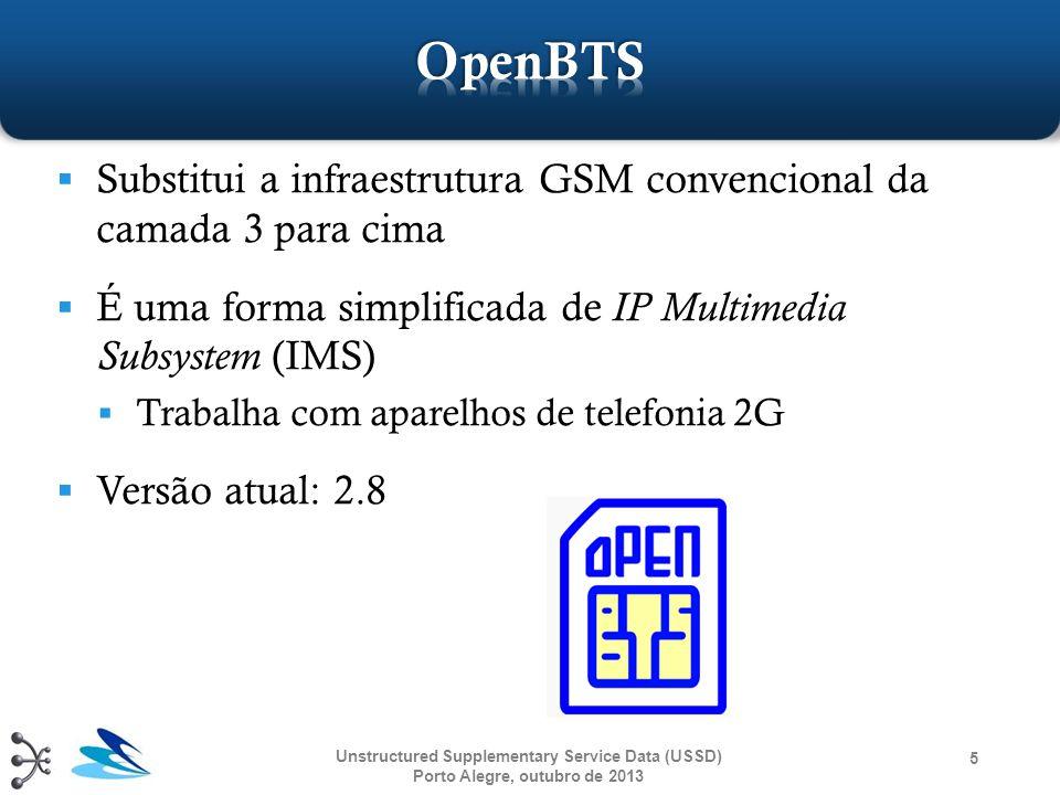 Unstructured Supplementary Service Data (USSD) Porto Alegre, outubro de 2013 5  Substitui a infraestrutura GSM convencional da camada 3 para cima  É