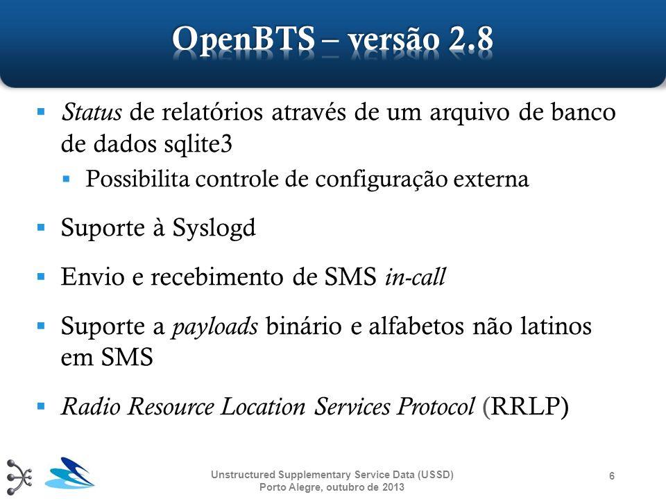 ① OpenBSC e OpenBTS ② Protocolo Gateway/APP ③ Desenvolvendo Aplicações Unstructured Supplementary Service Data (USSD) Porto Alegre, outubro de 2013 17