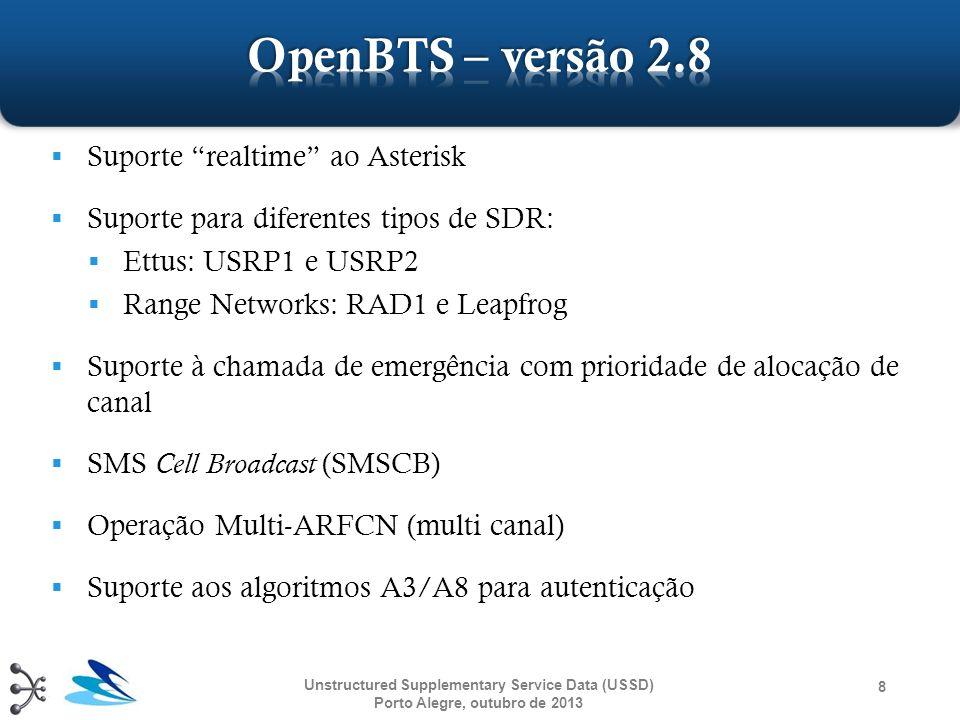 19 MS OpenBSC e Gateway APP DTAP ('1': request) TCP/IP (XML: continue) Enter your input: TCP/IP (XML: continue) DTAP ( Enter your input: : request) DTAP ( 987 : request) TCP/IP (XML: continue) You typed: 987 Menu 1.Input 2.Exit TCP/IP (XML: continue) DTAP ( You typed... : request) Unstructured Supplementary Service Data (USSD) Porto Alegre, outubro de 2013