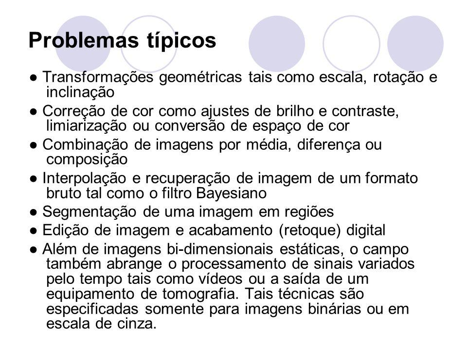 Problemas típicos ● Transformações geométricas tais como escala, rotação e inclinação ● Correção de cor como ajustes de brilho e contraste, limiarizaç