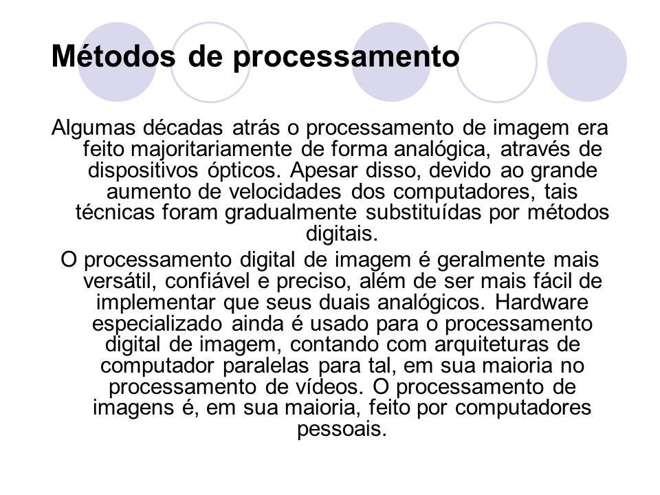 Métodos de processamento Algumas décadas atrás o processamento de imagem era feito majoritariamente de forma analógica, através de dispositivos óptico