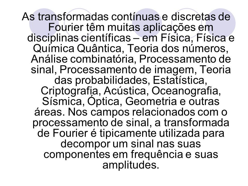 As transformadas contínuas e discretas de Fourier têm muitas aplicações em disciplinas científicas – em Física, Física e Química Quântica, Teoria dos