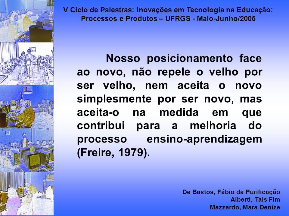 Nosso posicionamento face ao novo, não repele o velho por ser velho, nem aceita o novo simplesmente por ser novo, mas aceita-o na medida em que contribui para a melhoria do processo ensino-aprendizagem (Freire, 1979).