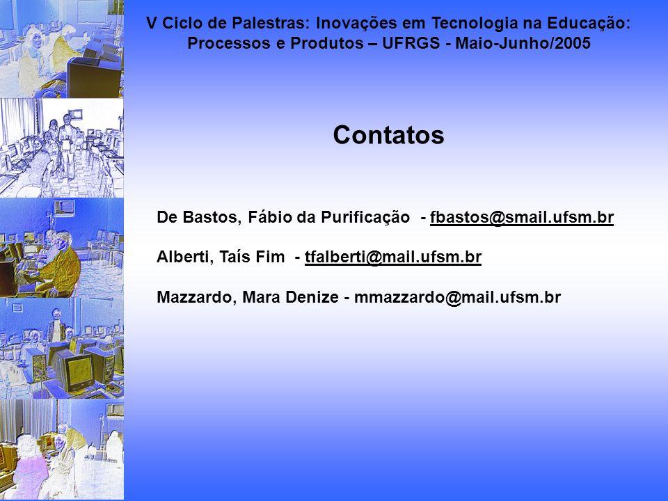 Contatos De Bastos, Fábio da Purificação - fbastos@smail.ufsm.brfbastos@smail.ufsm.br Alberti, Taís Fim - tfalberti@mail.ufsm.brtfalberti@mail.ufsm.br Mazzardo, Mara Denize - mmazzardo@mail.ufsm.br V Ciclo de Palestras: Inovações em Tecnologia na Educação: Processos e Produtos – UFRGS - Maio-Junho/2005