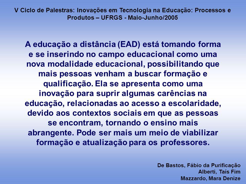 A educação a distância (EAD) está tomando forma e se inserindo no campo educacional como uma nova modalidade educacional, possibilitando que mais pessoas venham a buscar formação e qualificação.