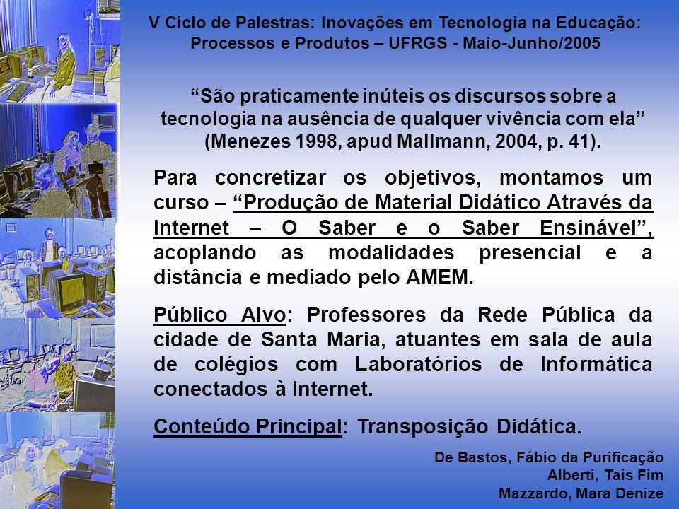 São praticamente inúteis os discursos sobre a tecnologia na ausência de qualquer vivência com ela (Menezes 1998, apud Mallmann, 2004, p.