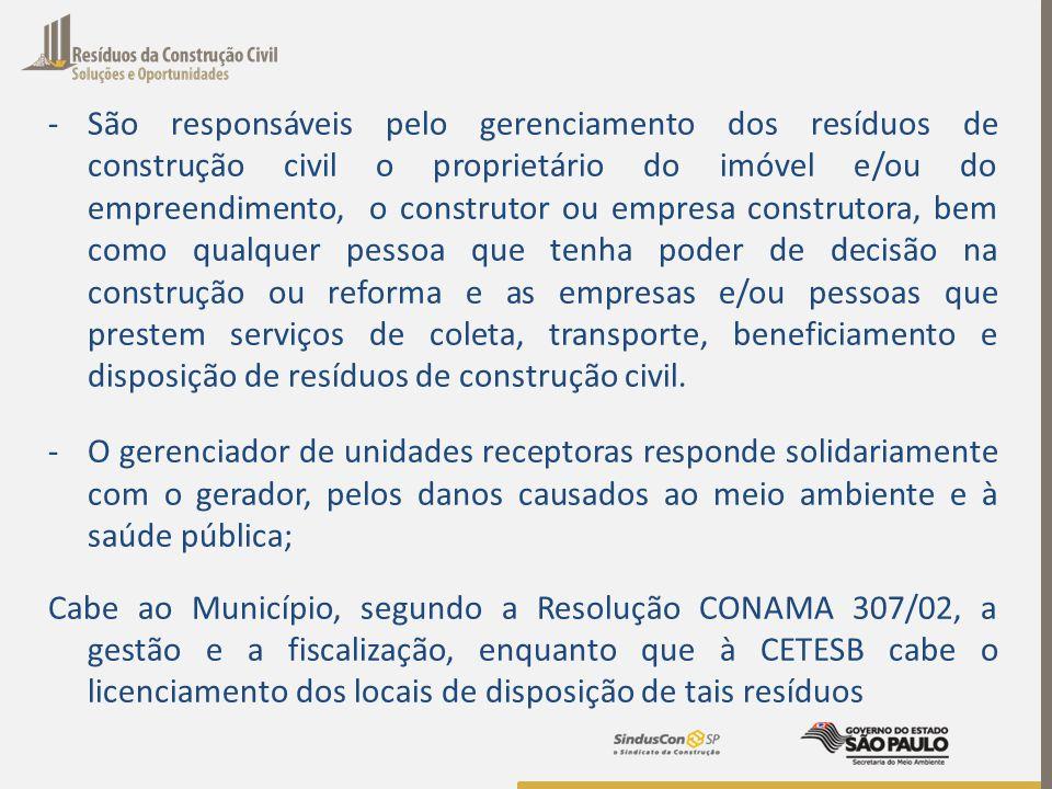 -São responsáveis pelo gerenciamento dos resíduos de construção civil o proprietário do imóvel e/ou do empreendimento, o construtor ou empresa constru