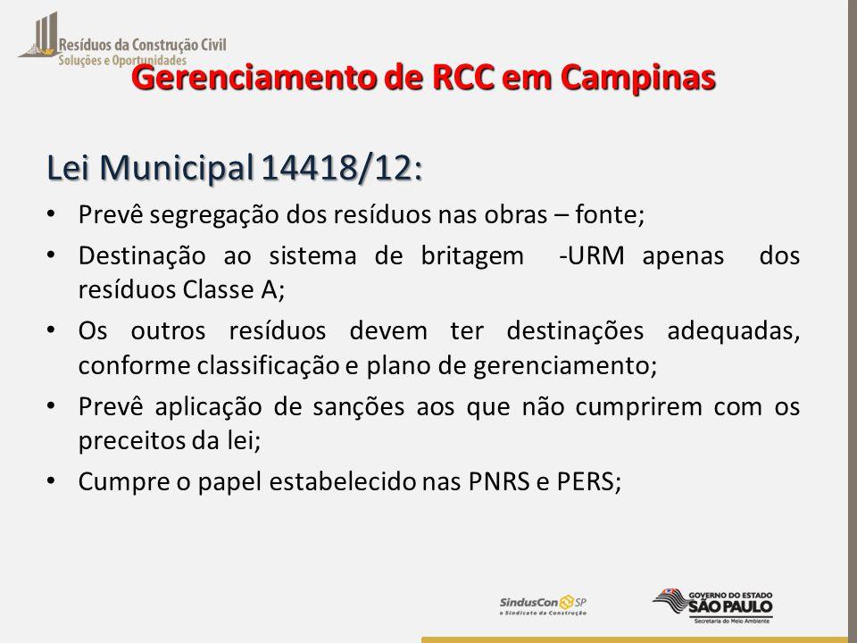 Gerenciamento de RCC em Campinas Lei Municipal 14418/12: Prevê segregação dos resíduos nas obras – fonte; Destinação ao sistema de britagem -URM apena