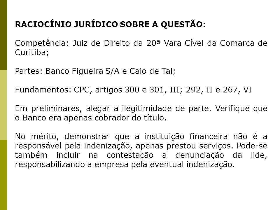 RACIOCÍNIO JURÍDICO SOBRE A QUESTÃO: Competência: Juiz de Direito da 20ª Vara Cível da Comarca de Curitiba; Partes: Banco Figueira S/A e Caio de Tal;