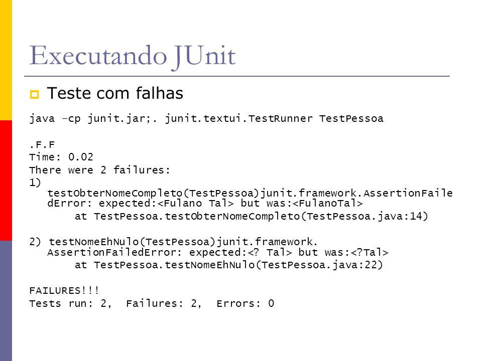 Executando JUnit  Teste com falhas java –cp junit.jar;. junit.textui.TestRunner TestPessoa.F.F Time: 0.02 There were 2 failures: 1) testObterNomeComp
