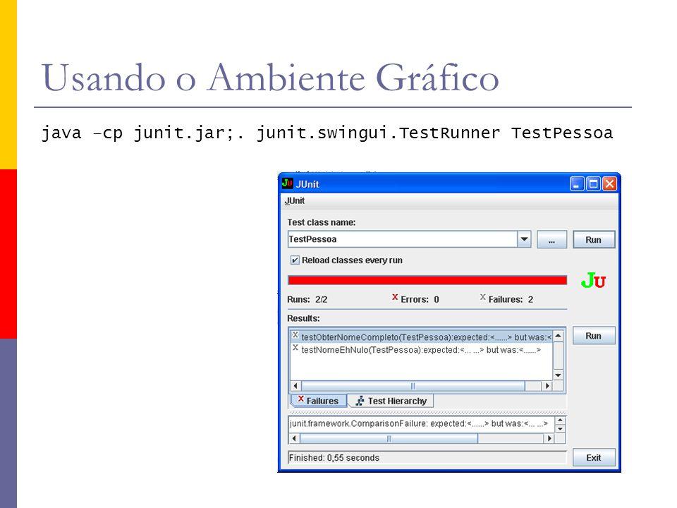 Usando o Ambiente Gráfico java –cp junit.jar;. junit.swingui.TestRunner TestPessoa