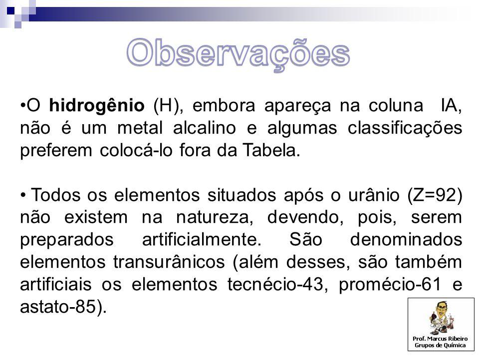 O hidrogênio (H), embora apareça na coluna IA, não é um metal alcalino e algumas classificações preferem colocá-lo fora da Tabela. Todos os elementos