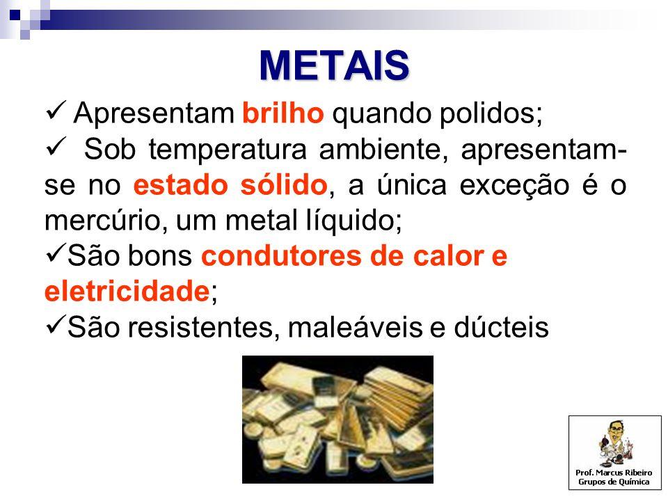 METAIS Apresentam brilho quando polidos; Sob temperatura ambiente, apresentam- se no estado sólido, a única exceção é o mercúrio, um metal líquido; São bons condutores de calor e eletricidade; São resistentes, maleáveis e dúcteis
