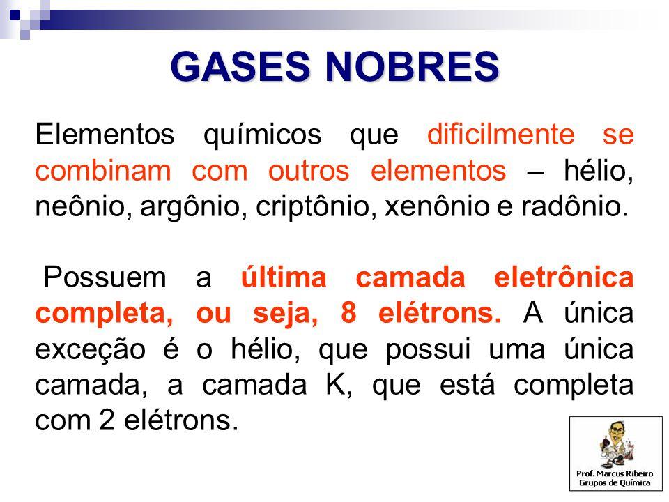 GASES NOBRES Elementos químicos que dificilmente se combinam com outros elementos – hélio, neônio, argônio, criptônio, xenônio e radônio. Possuem a úl