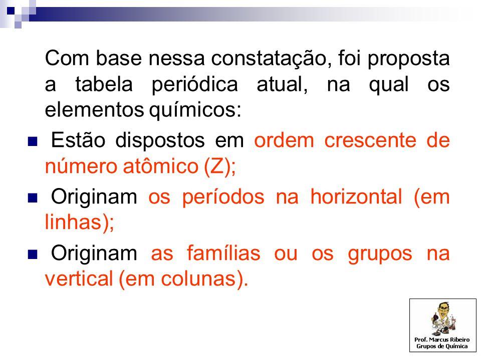 Com base nessa constatação, foi proposta a tabela periódica atual, na qual os elementos químicos: Estão dispostos em ordem crescente de número atômico (Z); Originam os períodos na horizontal (em linhas); Originam as famílias ou os grupos na vertical (em colunas).