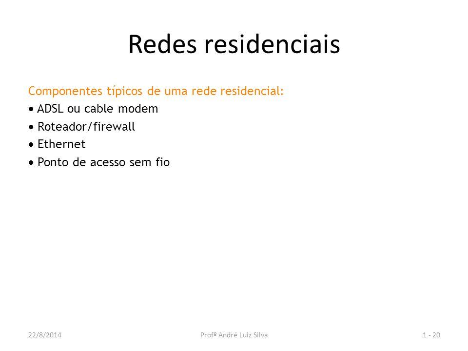 Redes residenciais Componentes típicos de uma rede residencial:  ADSL ou cable modem  Roteador/firewall  Ethernet  Ponto de acesso sem fio 1 - 2022/8/2014Profº André Luiz Silva
